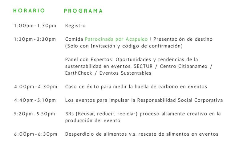 programa foro interactivo de eventos sustentables